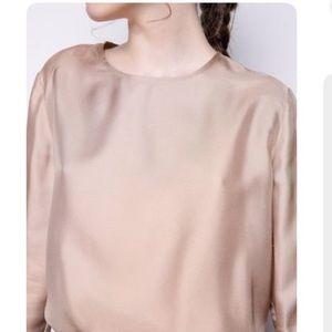 H&M satin mauve colored long sleeve blouse
